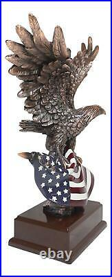 Ebros Wings of Glory Majestic Bald Eagle Clutching On USA American Flag Statue