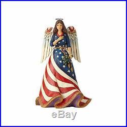 Enesco Jim Shore Heartwood Creek Patriotic Angel with Flag Dress Figurine, 9.8