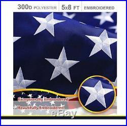 G128 American Flag US USA 5x8 ft Embroidered Stars, Sewn Stripes