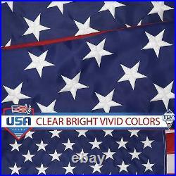 G128 American Flag US USA 8x12 ft Embroidered Stars, Sewn Stripes