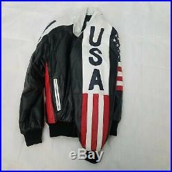 GORGEOUS Michael Hoban Wheremi USA American Flag Leather Jacket Mens 90s Sz M