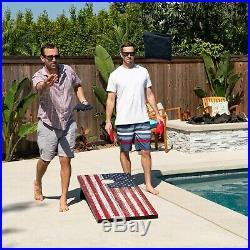 GoSports 4'x2' American Flag Cornhole Lawn Game Set Includes 8 Bags, Carry Case