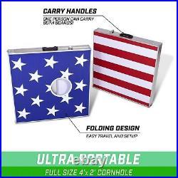 GoSports Cornhole PRO Regulation Size Bean Bag Toss Game American Flag Design