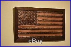 Handmade Copper American Flag, Metal American Flag, USA Wall Art, 30'' x 16'