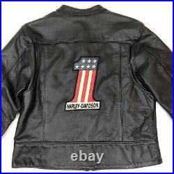 Harley Davidson Women's L Leather Jacket #1 American US Flag Cafe Racer Made USA