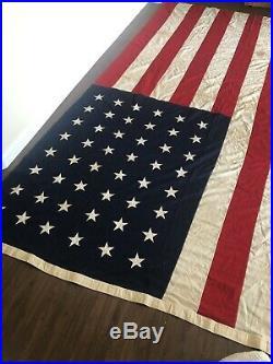 Huge! 12ft. By 8ft. Estate Found Rare Vintage Antique 48 Star U S Flag Defiance