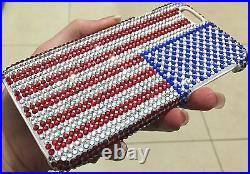 IPhone 7/8 Plus Case Made with American USA Flag Bling Swarovski Crystals Luxury