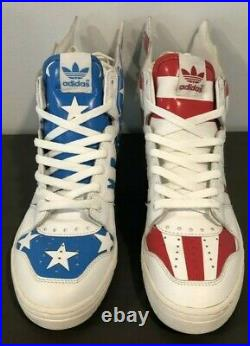 Jeremy Scott ADIDAS Wings 2.0, USA Flag Stars And Red Stripes, Size 7.5 RARE