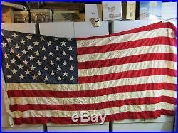 LB OLD VINTAGE 50 Star U. S. A. AMERICAN FLAG UNITED STATES SEWN STARS 112 X 56