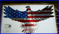 Large American Flag Eagle Wall Sculpture 48 Metal Art USA Millitary Gifts Art