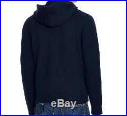 Large Polo Ralph Lauren USA American Flag Knit Navy Hooded Sweater L Hoodie