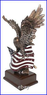 Large Wings of Glory Majestic Bald Eagle Clutching On USA American Flag Statue