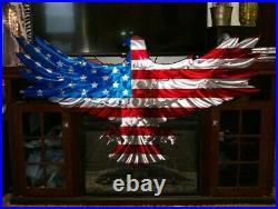 Large metal art eagle American Flag outdoor Patriotic USA made metal art decor