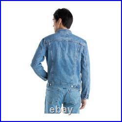 Levis Men's Size M Denim Jean Trucker Jacket Nascar Drag Racing Checkered Flag