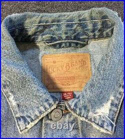 Lucky Brand Dont Worry Distressed Jean Jacket XL Mckinney Trucker Vtg 90s USA