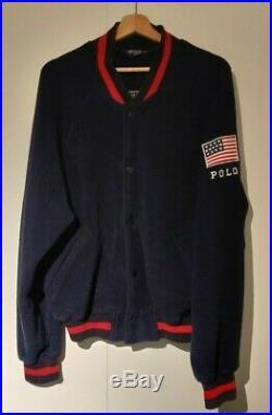 (M) Polo Ralph Lauren Bomber Jacket USA Flag Fleece Varsity Sport Bear Stadium