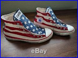 MADE IN USA! Vintage Converse Chuck Taylor American Flag Print M-10 W-12 EU-44
