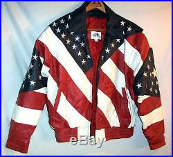 MANART Genuine Leather Embroidered American USA Flag Jacket Tag Size M