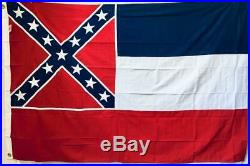 MISSISSIPPI VINTAGE USA ALL SEWN COTTON FLAG 4x6 FEET 25+ YEARS OLD OLE MISS REB