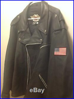 Made In USA Harley Davidson Men's Black Leather Jacket American Flag Size 4XL