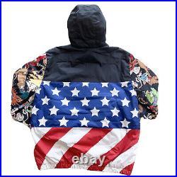 Members Only Nickelodeon Winter Jacket Hooded Rugrats Hoodie American Flag sz L