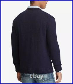 Men's Polo Ralph Lauren Mens (XL) Knit American Flag Crew Neck Sweater Navy NWT