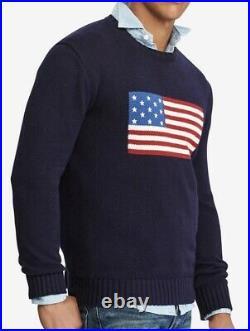 Mens Polo Ralph Lauren Crewneck Sweater USA American Flag Large NWT