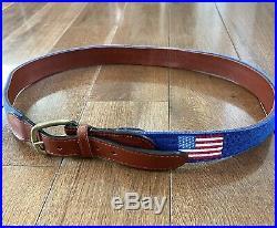 Mens Smathers & Branson USA American Flag Golf Stitched Needlepoint Belt Blue 36