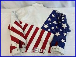 Mens Vintage LARGE USA American Flag Leather Bomber Jacket Michael Hoban Style