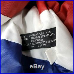 Michael Hoban USA Leather Jacket Vintage 80s 90s American Flag Where M I 2XL