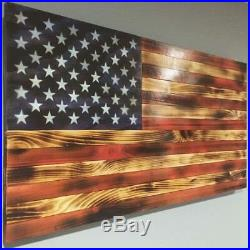 NEW HUGE 26x48' Handmade Rustic American Wooden Flag Charred USA MADE patriot