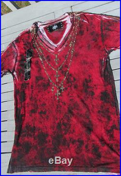NEW L The Saints Sinphony mens t-shirt cross gold skull flag red $239 chains wow