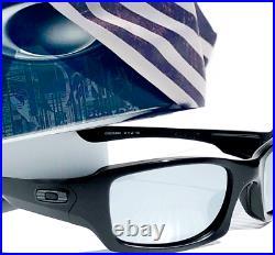 NEW OAKLEY Fives Squared Black USA FLAG POLARIZED Galaxy Chrome Sunglass 9238