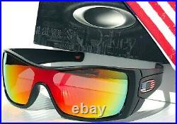 NEW Oakley BATWOLF Black Matte USA Flag POLARIZED Galaxy Ruby Sunglass 910135