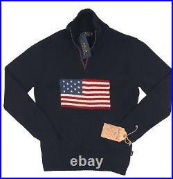 NEW Polo Ralph Lauren Sweater! SLIM FIT Huge US Flag RARE Made in USA