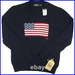 NEW Polo Ralph Lauren Sweater! VERY SLIM FIT Huge US Flag RARE Made in USA