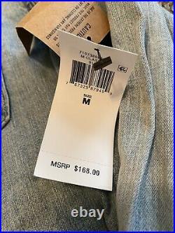 NEW Polo Ralph Lauren Western Denim Pearl Snap Shirt USA Flag Size Medium $168