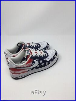 NIKE AIR FORCE 1 LOW INDEPENDENCE DAY USA 488298 425 RED NAVY WHITE FLAG Size 11