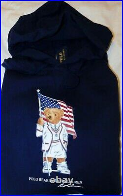 NWT Men's Polo Ralph Lauren USA Flag Polo Bear Fleece Hoodie Size XXL 2XL