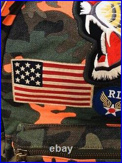 NWT POLO RALPH LAUREN Orange Camo Canvas Backpack Roaring Tiger & Flag Patch