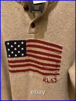 NWT Polo Ralph Lauren Beige Cotton Linen USA American Flag Turtleneck Sweater L