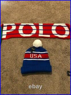 NWT Polo Ralph Lauren Vintage USA Stadium Scarf Downhill Skier Beanie Skullcap