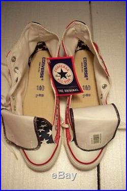 NWT Vintage Converse All Star American Flag Patriotic Hi Top Shoes Men 10 USA