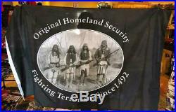 Native American ORIGINAL HOMELAND SECURITY FIGHTING SINCE 3X5 AMERICAN USA FLAG