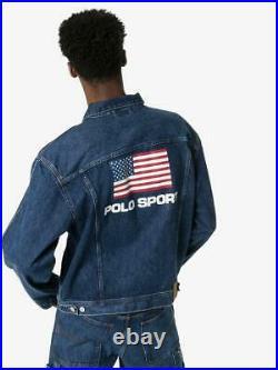 New $198 Polo Sport Ralph Lauren USA Flag Logo Print Denim Jean Jacket Large