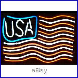 New American USA Flag Beer Bar Neon Light Sign 24x20