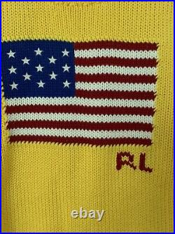 New Genuine Polo Ralph Lauren USA American Flag Yellow Knit Size S Jumper
