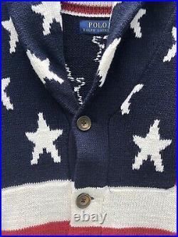 New M Polo Ralph Lauren USA Cardigan Sweater Linen America Flag Stars Stripes 67
