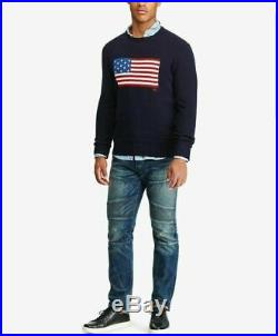 New POLO RALPH LAUREN USA Iconic AMERICAN FLAG Navy 100% Cotton Sweater XLT