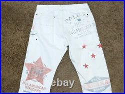 New Polo Ralph Lauren Saranac Lake Carpenter Jeans White Men's Sz 34x30